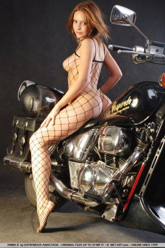 Emma on a moto