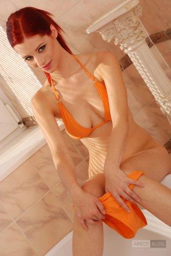 Ariel aka Piper Fawn in orange bikini