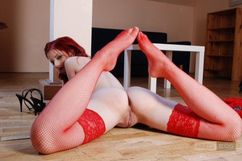 Ariel in red lingerie