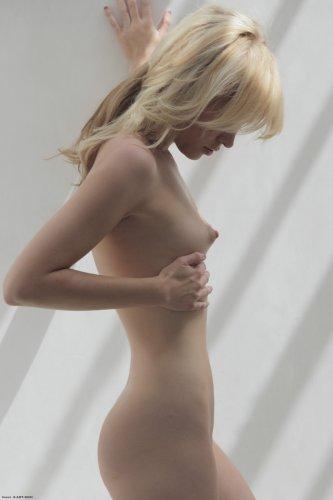 Стройная куколка Breanne сексуально снимает трусики и позирует у стены