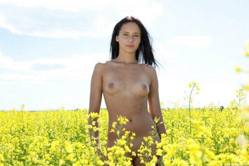 Голая Mira в поле
