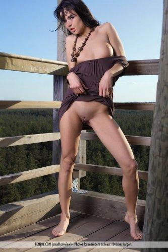 Молодая брюнетка Vera P с небольшими сисями разделась на вышке в лесу