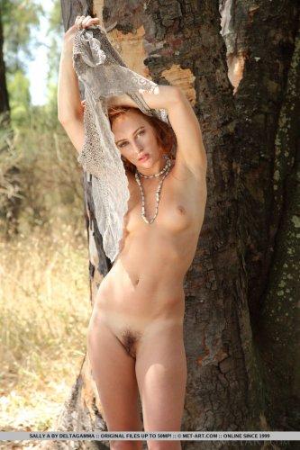 Рыжая деваха Sally A с волосатой пиздой снимает прозрачную кофту в лесу